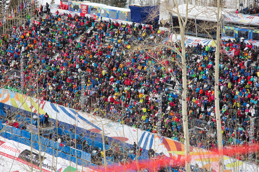 World Ski Championship bleachers are packed, as expected. - © Liam Doran