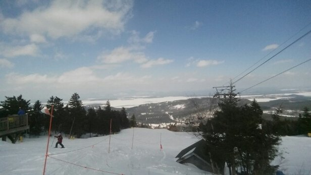 Gunstock - Rooster tails on every trail with nice moguls and fast snow.  Crowded but still fun - ©powderhound