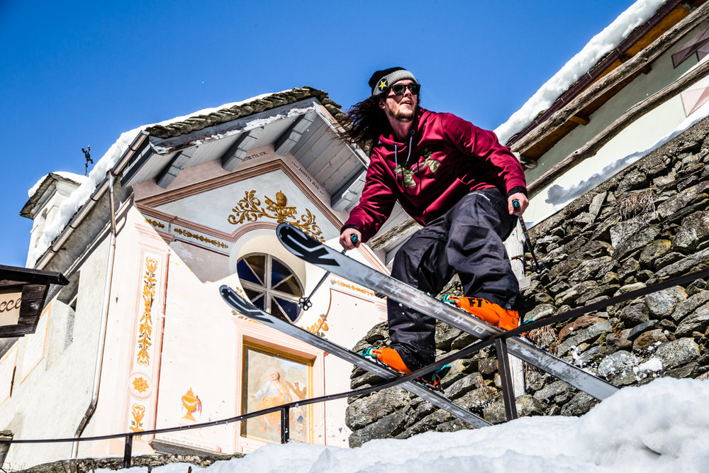 Take me to church: Sean Jordan with the urban ski. - © Liam Doran/MSP