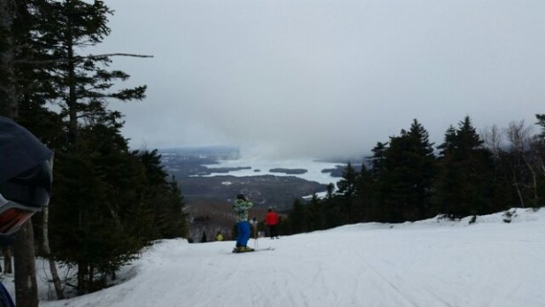 Mount Sunapee - Started out very foggy and a mix of rain and snow.  Then the fog lifted and it snowed a little and very windy.  It was all conditions except for powder and ice.  Cleared by the end of the day and a great day and season overall.  - © Hurricane