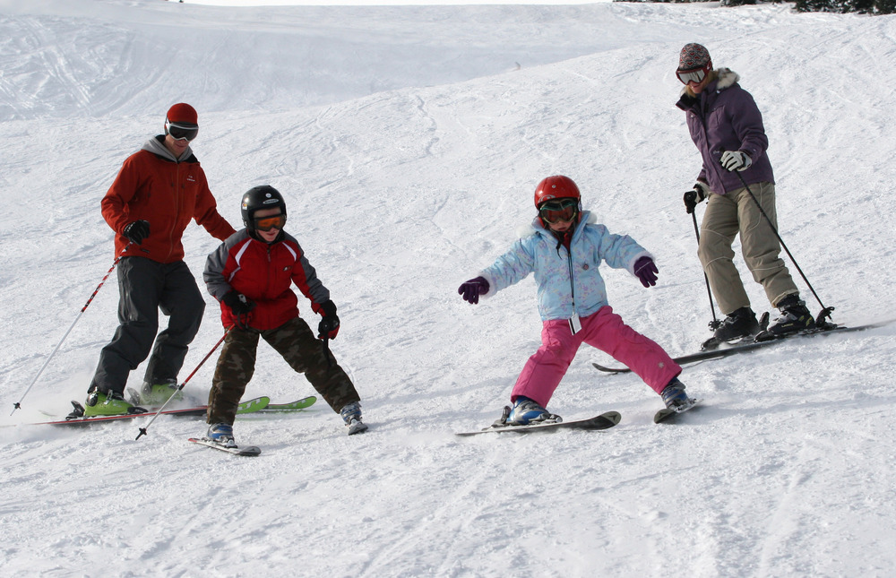 A family skiing at Durango, CO
