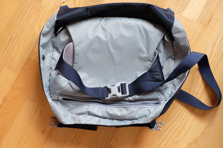 Der Rucksackdeckel ist mit einem Gurt versehen, so dass man ihn auch separat als kleine Hüfttasche verwenden kann - © bergleben.de