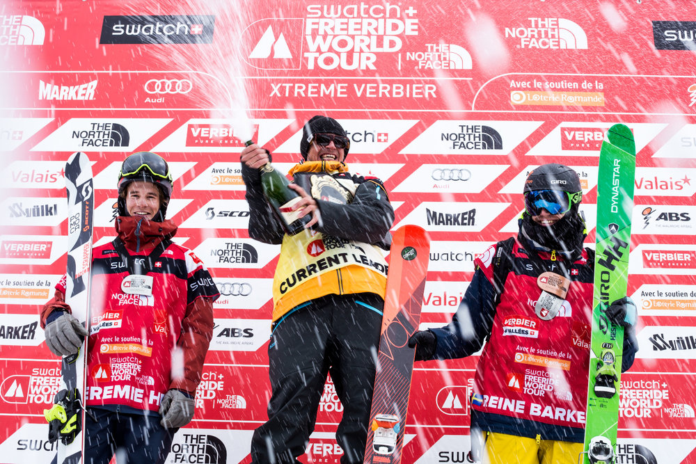 Siegerehrung in Verbier - © J. Bernard | Freeride World Tour 2015