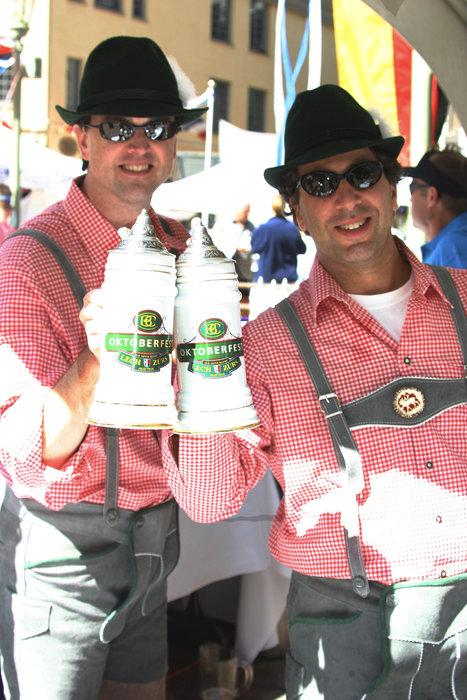 Men with beer steins at the Beaver Creek Oktoberfest.