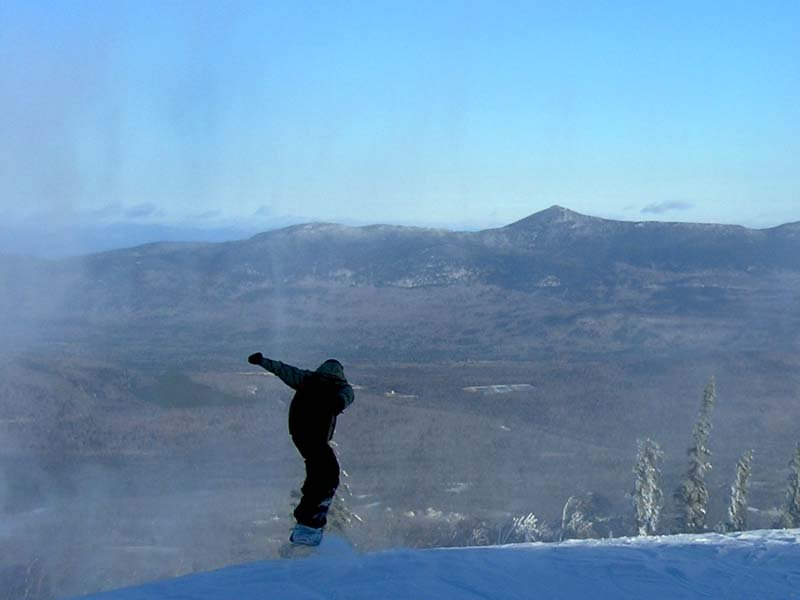 A snowboarder at Sugarloaf, ME.