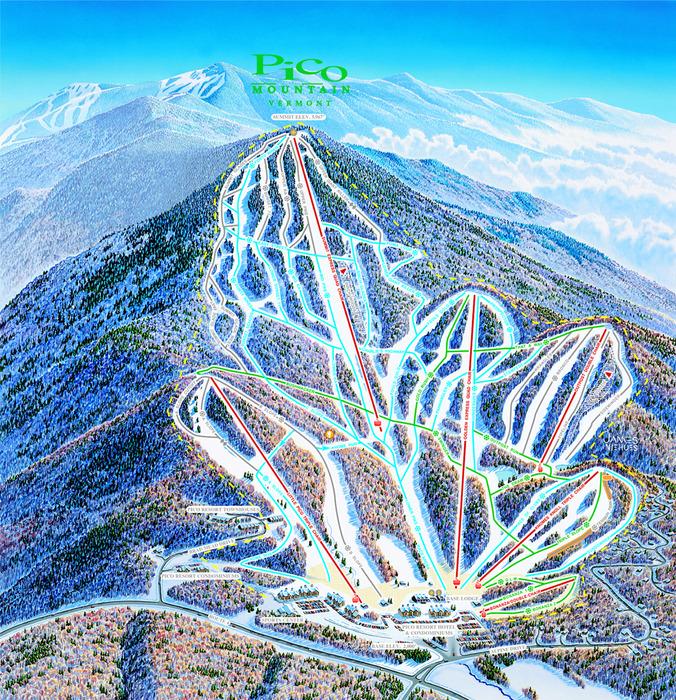 A trailmap for Pico, VT.