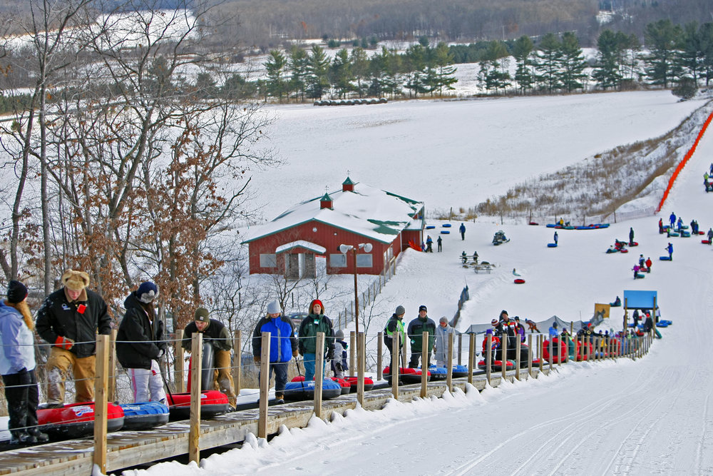 Tubers in line at Wild Mountain, MN.