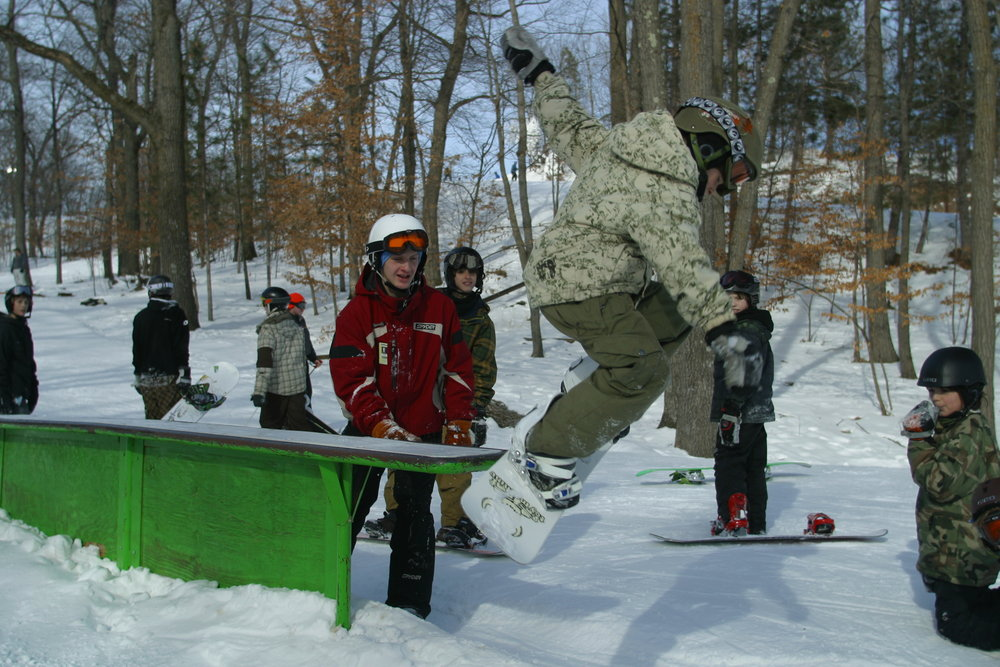 Boarder about to stick a landing at Wild Mountain, MN