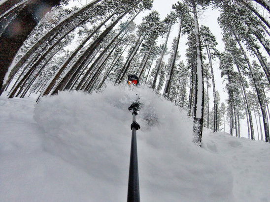 Red Lodge Mountain - It's ok as long as your not scared of a little pow pow. #faceshots #treebombing - © 1WRiPhone