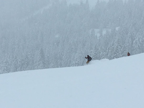 Soldier Mountain Ski Area - New owner Matt catching some freshies on Sunday the 13th of December 2015...