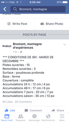 Ski Bromont - Conditions ski bromont - ©iPhone