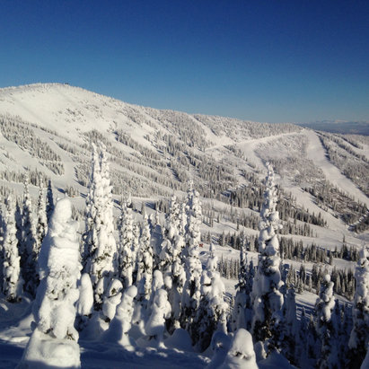 Schweitzer - Awesome views with blue skies early this morning!! Lots of powder to be had in the trees! - © iPhone