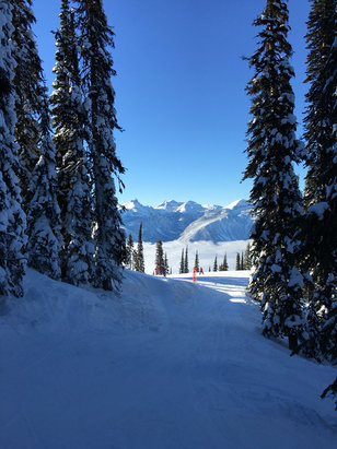 Revelstoke Mountain Resort - No new snow, but a solid inversion! -12 at the base and +2 at the top of the house! Goggle tan factory over New Years.  - © iPhone