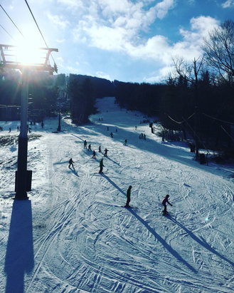 Jiminy Peak - One of the only places open.  Was there yesterday, 15 trails open and blowing snow.  Loose granular Iced up a bit and thin cover on the slingshots, but really good since other places are closed.  Snow makers did a great job - © Matthew Buck
