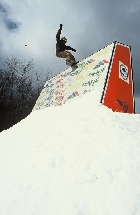 A snowboarder at Smugglers' Notch, Vermont.