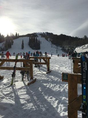 "Deer Valley Resort - Blue skies, no wind, 5"" new at Deer Valley. This is Silver Lake... - © another random iPhone"