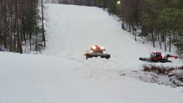 Montage Mountain - White Lightning being groomed this afternoon, and as of 3pm today is now OPEN!!
