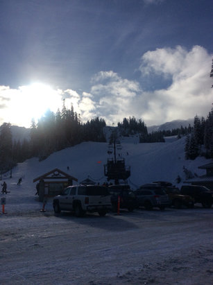 Mt. Baker - Sunny, snow is packed and somewhat icy on groomed area.   - © Aric's iPad
