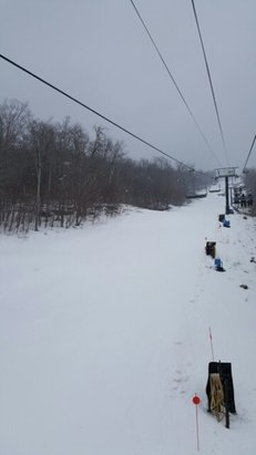 Windham Mountain - conditions are better than I expected they did a good job last night with the blowers and we have snow coming down now. - © donnapradas
