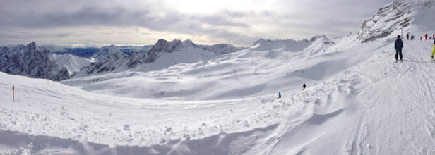 "Zugspitze - Snow was great!  Soft packed powder that was grippy on piste and slashable off piste with about  12"" of pow.  Now the bad...crowded, which turn all the pistes into mogul fields early.  I spent most of my time off piste.  Not the best place for families with young skiers. The blues are challenging. For newbies.  Reds would be blacks at most US resorts.  The train ride sucked and was way over crowded.   - © John's iPhone 5"