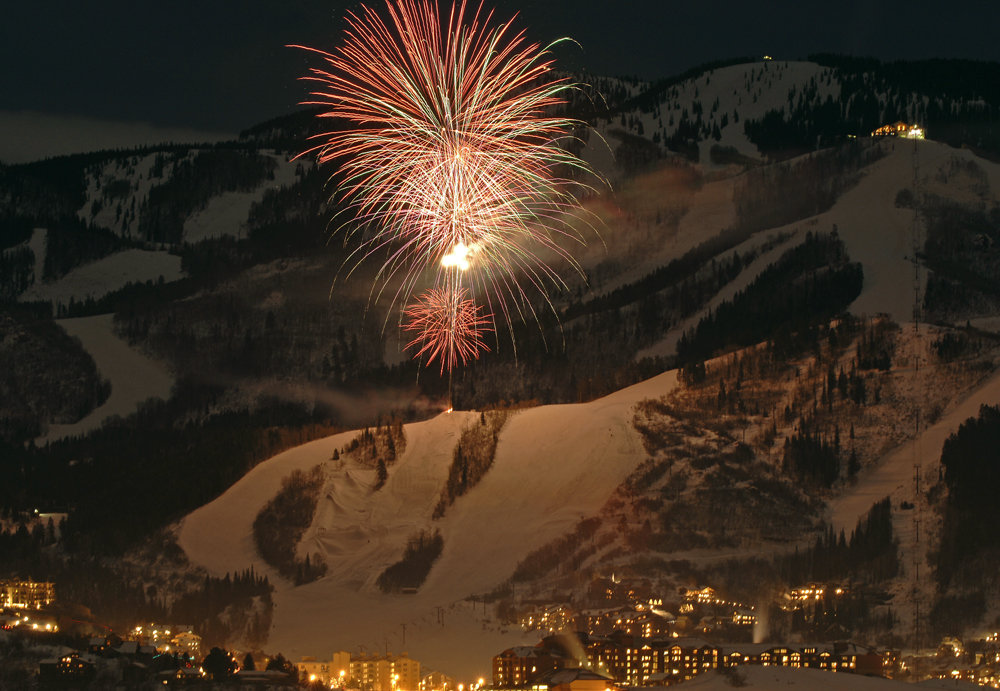 Fireworks over Steamboat, CO. Image by Larry Pierce.
