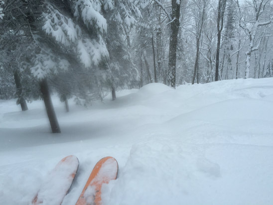Mont Sainte Anne - It snowed all day Saturday! Finally some POW!