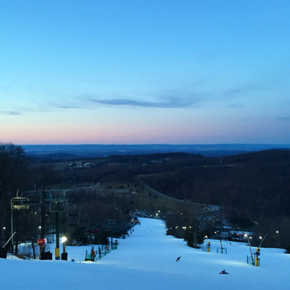 Roundtop Mountain Resort - The snow is pretty grainy and pretty choppy, but overall not bad. The park is in decent shape. Def worth coming out if you have a pass, especially in this gorgeous weather. Not too many people out tonight. Barely any lines for the lifts. - © jglovier