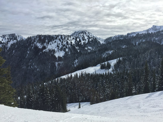 Crystal Mountain - Slushy at bottom. Ice the rest. Only good snow are in the northern bowls.   - ©Blake's iPhone