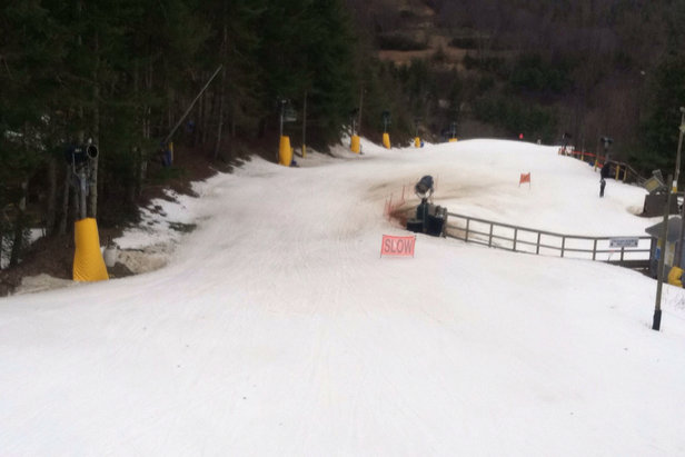 Cataloochee Ski Area - Yesterday (3/7/16) was good. Not too crowded most of the day. There are a few thin spots but still pretty good. Rising temps are def effecting it but there's a little more time left.   - © John's iPhone