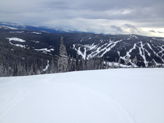 Sun Peaks - Upper areas have great powder/tracked powder. Lower areas received rain and wet snow today, so expect a potential re-freeze overnight tonight. Crystal and Elevation lifts are where it's at right now. Lots of freshies in the upper treed areas.  - © Travis's iPhone