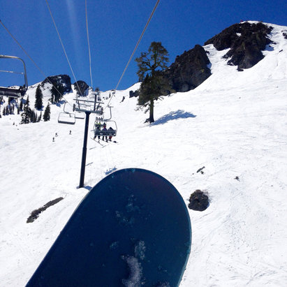 Squaw Valley - Alpine Meadows - 4/16/16 on KT22 chair. Was still pretty good snow up there  - © Manuela's iPhone5c