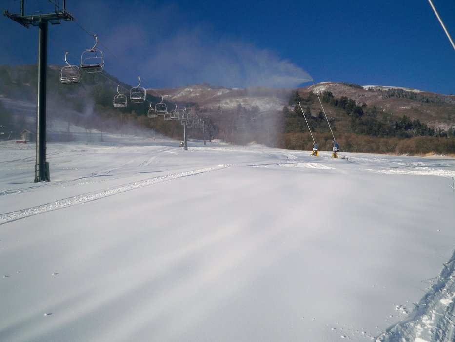Snowmaking at Wolf Creek, UT.