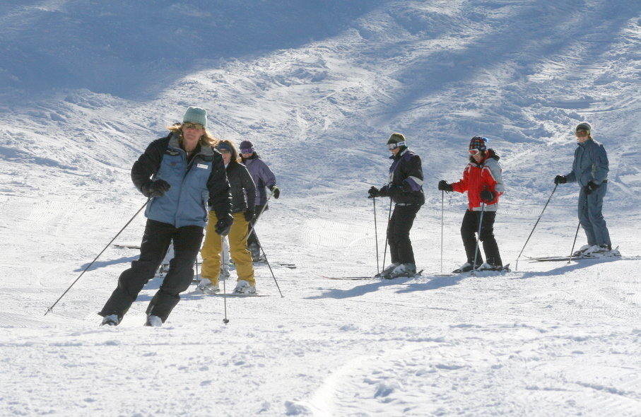 Skiers receiving instruction at Powderhorn, CO.