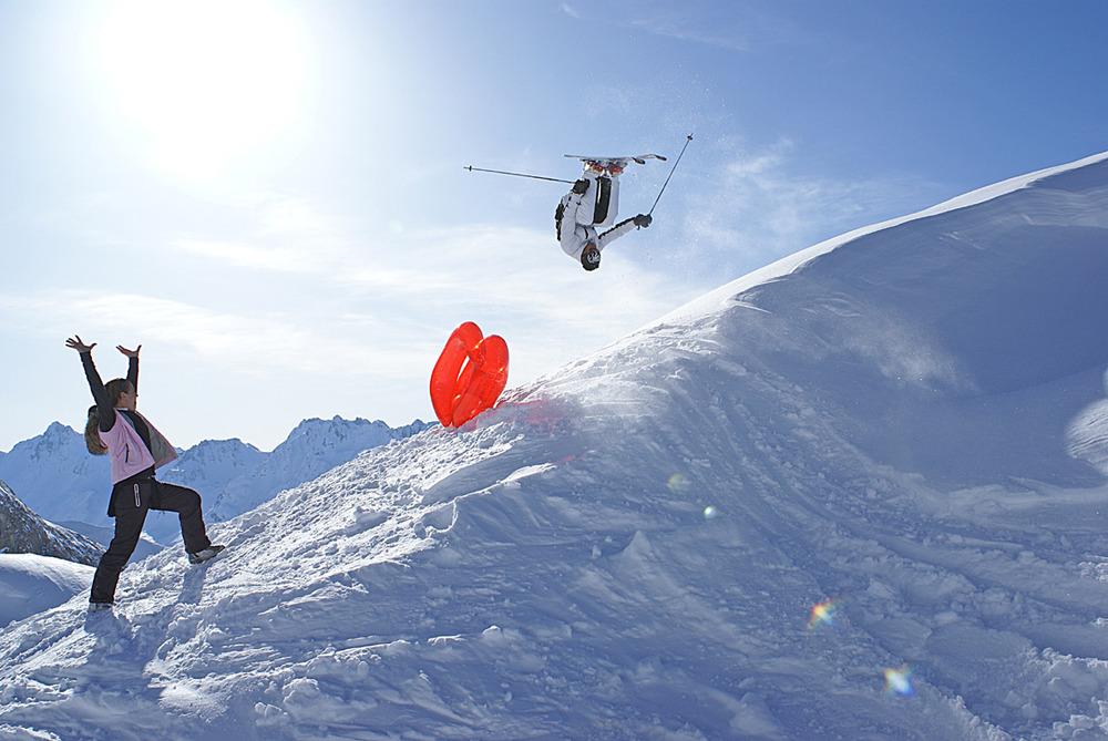 Skiers at Paznaun, Austria.