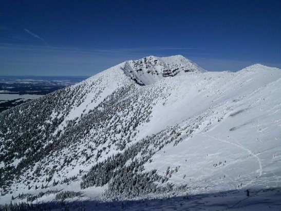 Arizona Snowbowl - the wind moved a lot of snow around. if you search, you will find it! - © anonymous