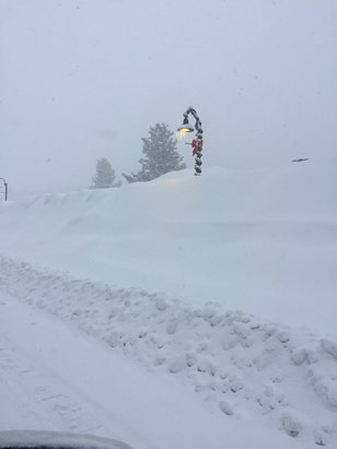 Mammoth Mountain Ski Area - 395 closed on Sunday  around 9am, we still can't get out , wind is blocking visibility to drive . - ©Monica Cadena