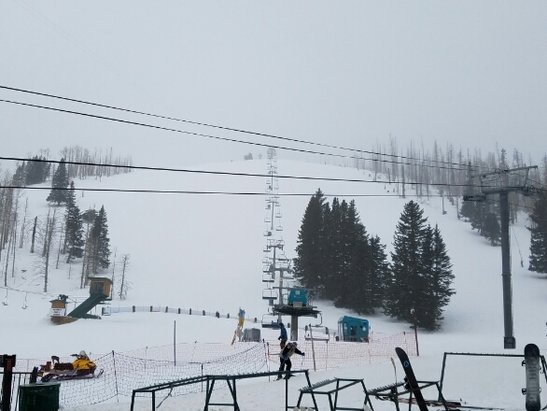 Ski Apache - Conditions are packed with 2 to 3 inches fresh powder on top.  Windy!  Best conditions yet of the year but needs another good dump.  Head to Southern CO if you want premium conditions, but Apache IS worth the trip today... No lift lines, place is empty.  - © EPHomeInspector