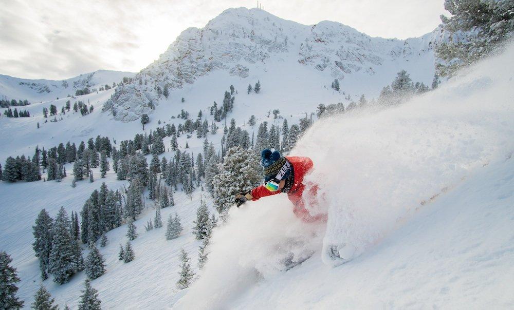 Classic powder garb at Snowbasin this January. - © Chris Morgan