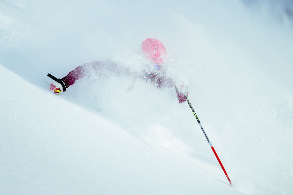 Katie Van Riper gets pitted at Alta. - © Justin Cash