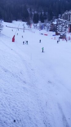 Courchevel - hard on the runs. icy in places. limited snow on very low slopes 