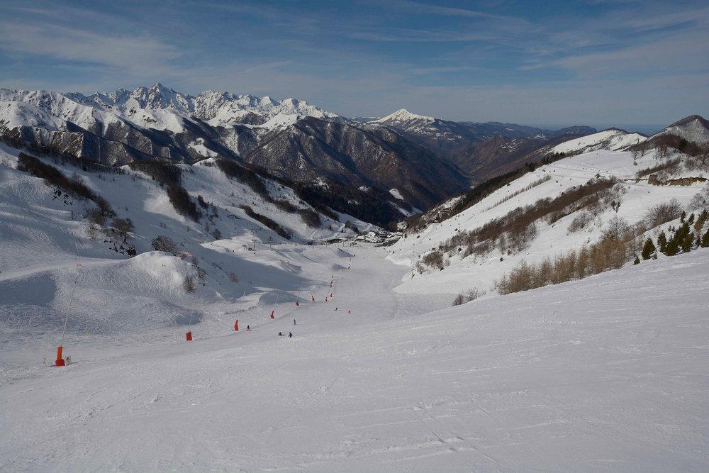 Conditions de ski idéales sur les pistes de ski de Guzet - © Alex Gosteli