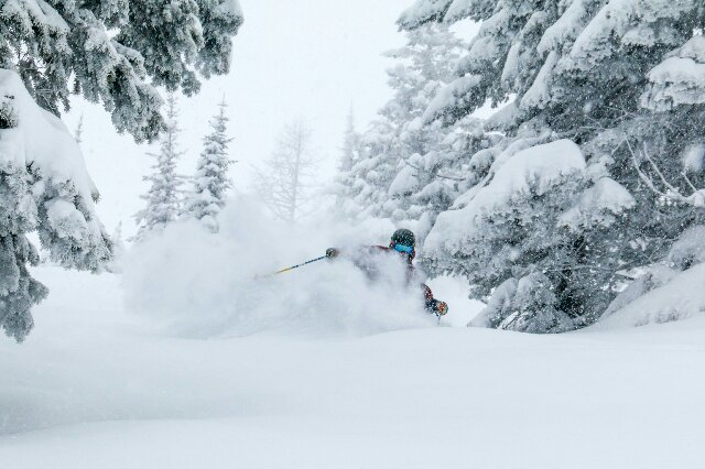 Life is good when the snow cooperates with your travel plans. - © Whitefish