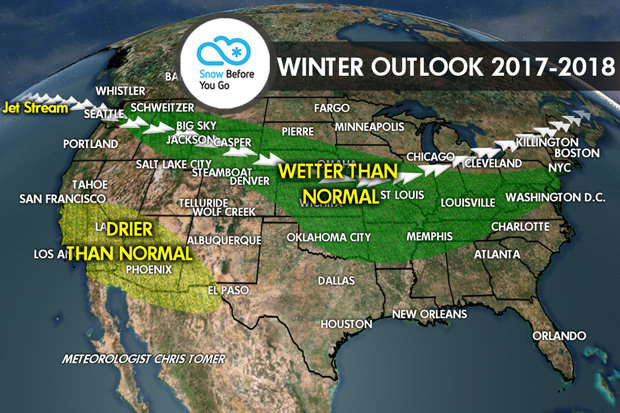 Which ski resorts will get the most snow this winter? Snow Before You Go Meteorologist, Chris Tomer presents the long-range forecast for the 17/18 ski season.  - © Meteorologist Chris Tomer