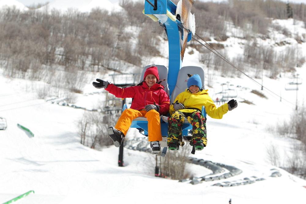 Kids enjoying the ride up aboard Flying Eagle. - © Park City Mountain Resort