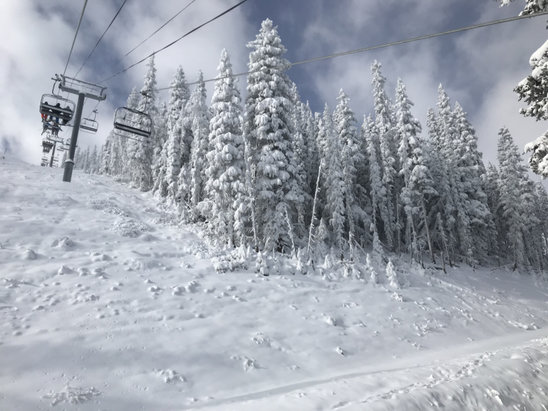 Nakiska Ski Area - Beautiful conditions for opening day!  The glades were a bunch of snowy fun  - © Tamara's iPhone (2)