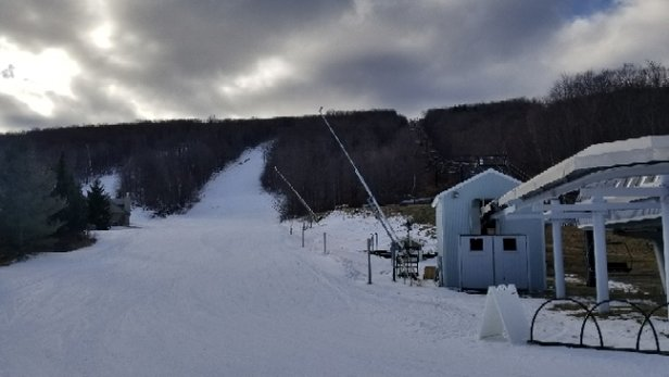 Okemo Mountain Resort - from this weekend: Looked sketchy at the base but they had totally solid coverage on about 5 legit top-to-bottom runs. - © jimmy
