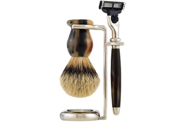 Classic Horn Shaving Set: $485 Nothing beats a smooth shave. The Classic Horn Shaving Set offers a modern, ergonomic look and is crafted from authentic horn. The razor and brush handles are balanced for optimum performance. As an added bonus, the blades can be replaced with MACH3® blades by Gillette®.