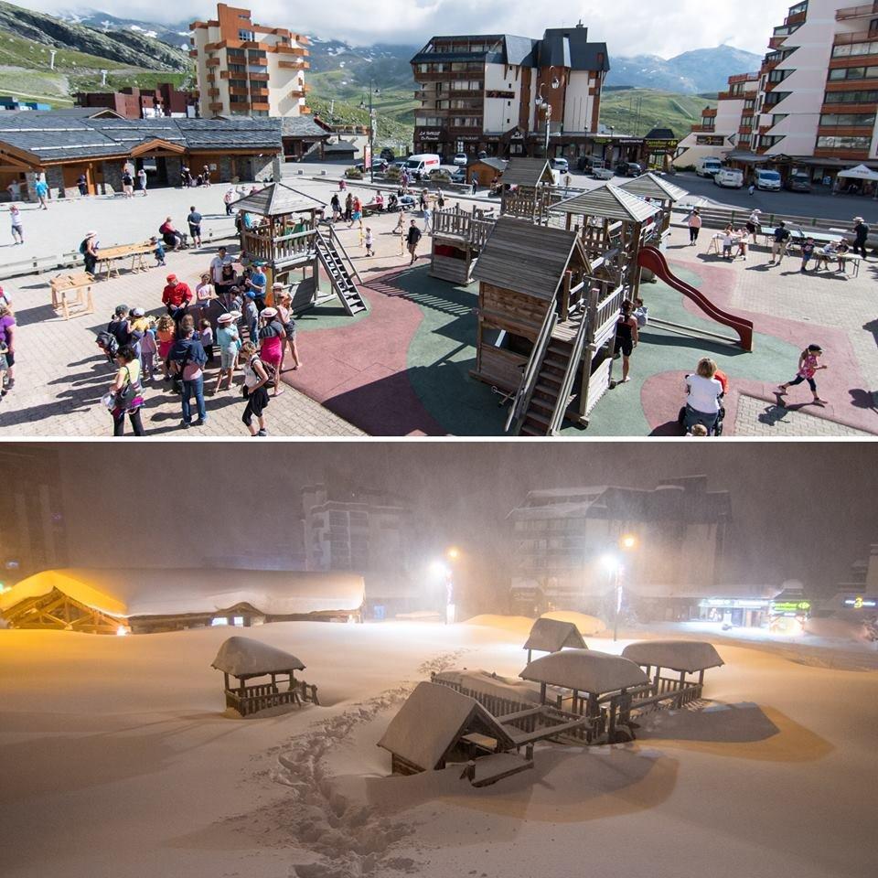 Komparatívna snímka z Val Thorens - hore ihrisko v auguste, dole to isté miesto ráno 4.1.2018 - © Val Thorens facebook