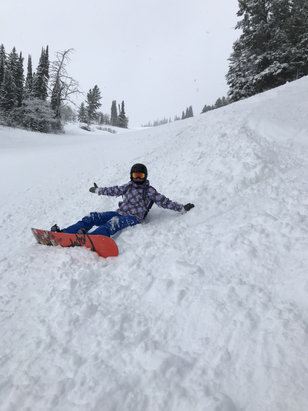 "Jackson Hole - 8"" of fresh powder last night. And still packing on more snow. Great conditions today!  - © iPhone"