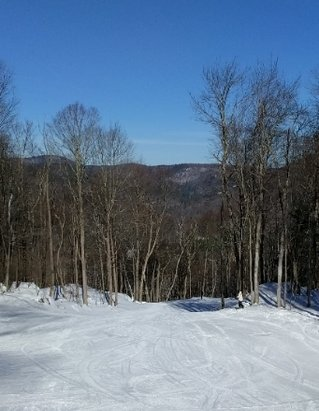 Berkshire East - Excellent grooming. Beautiful weather day. Did not soften up much since nearly all trails remain in the shadows for most of the day. Too bad the heavy rains are on the way.  - © anonymous